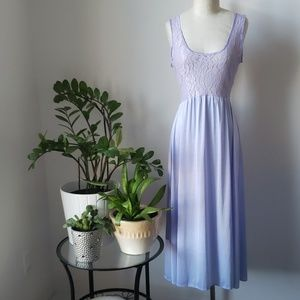 Vintage Lilac Lace Bodice Maxi Chemise Slip